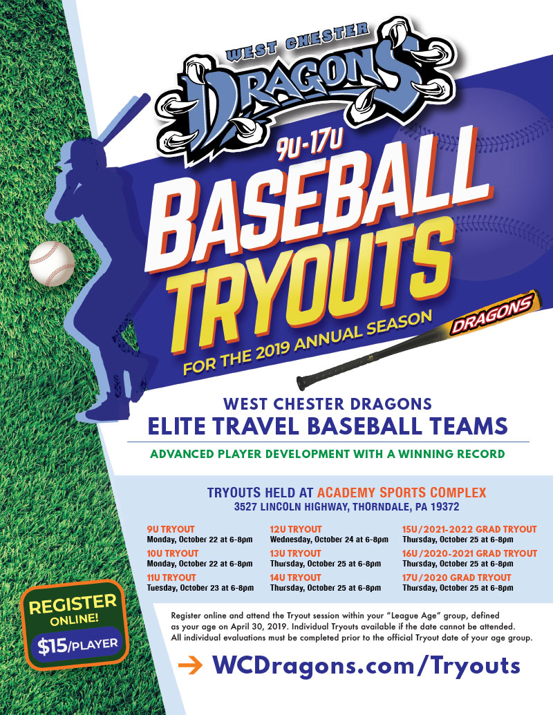 Open Tryouts for West Chester Dragons Travel Baseball organization