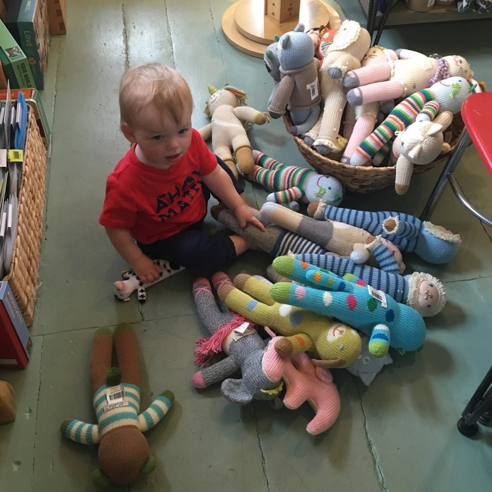 Caroline's son Henry helps us choose products for the kids' section. He has very discerning tastes.