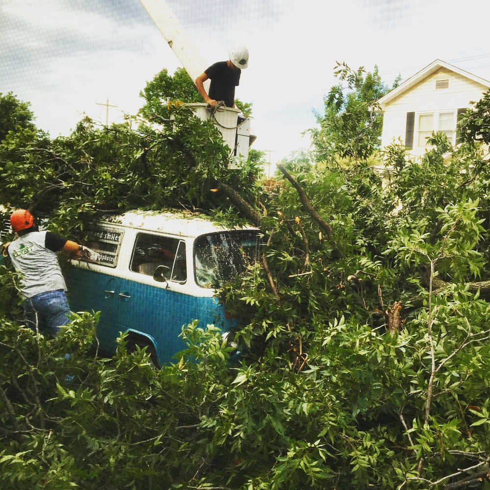 Richert Tree Service uncovering Vintage Wagon Photo Booth Bus in Jenks OK