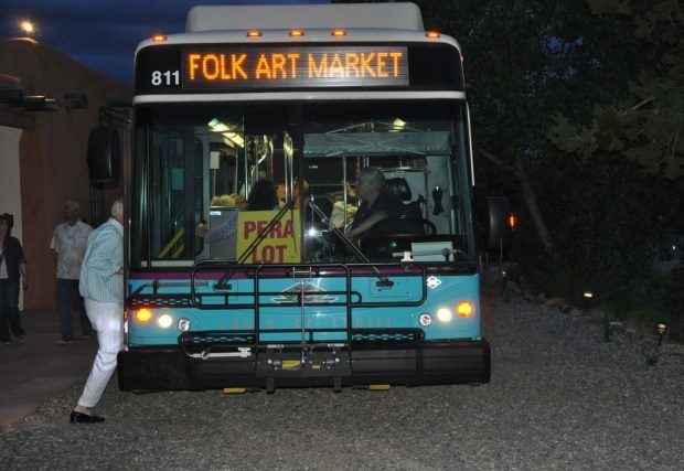 Boarding the shuttle before the ruckus began | Santa Fe Folk Art | July 2017