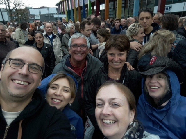 Marek, Alex, San (Front row) Jacques, Anne & Me (Andee Baker, Second Row) in the front of the line outside Amsterdam Arena. Superselfie©Marek