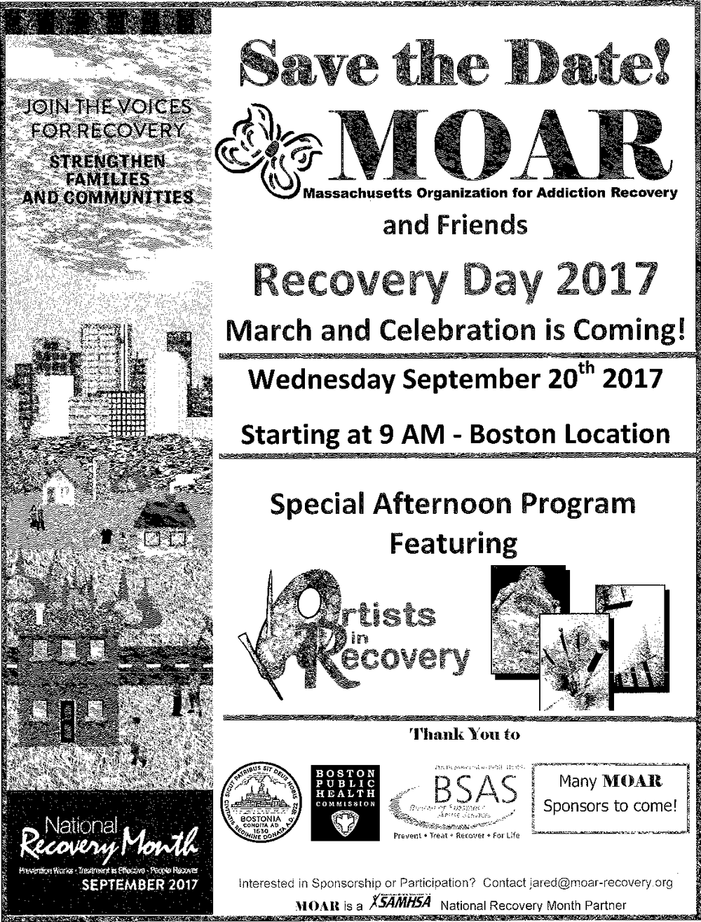 Recovery Day 2017 - The Massachusetts Organization for Addiction Recovery will be hosting a special afternoon Recovery March and Celebration on September 20, 2017. Mark your calendars! For more information visit: www.moar-recovery.org