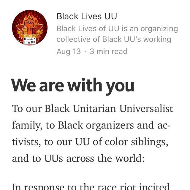 Check out our full statement in response to the VA race riot here:  https://medium.com/@BlackLivesUU/we-are-with-you-c7be00e89be
