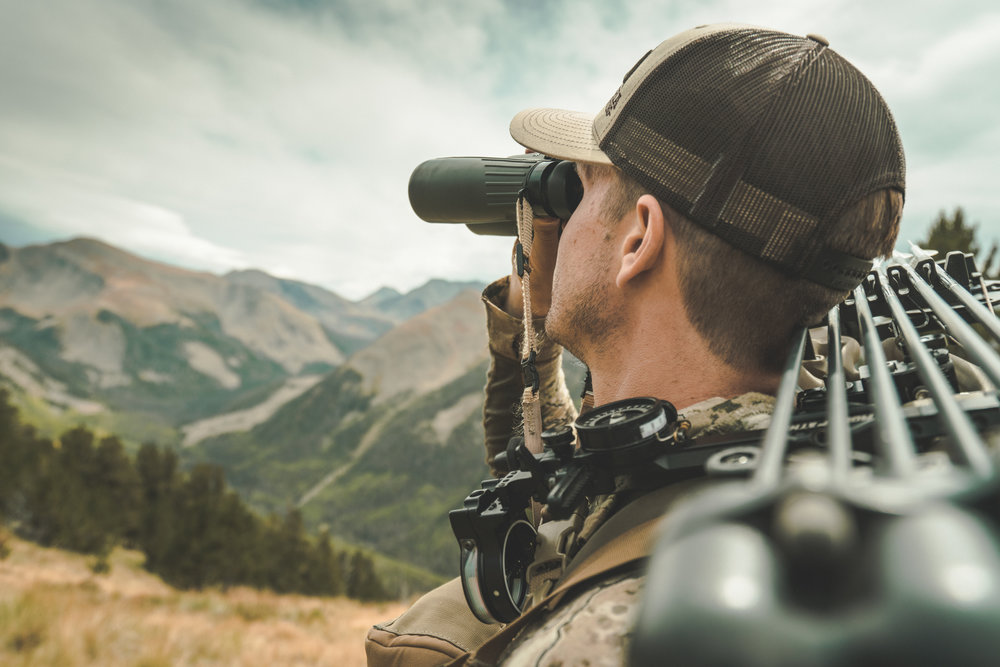 bowhunter glassing for elk