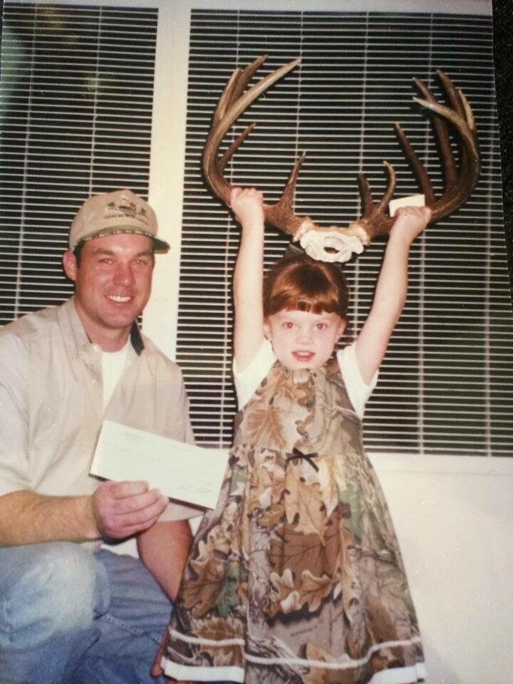 This is just a fun picture I found of my dad and I. He had won an award for this buck. AND LOOK AT THAT.... A DOUBLE BROW TINE!