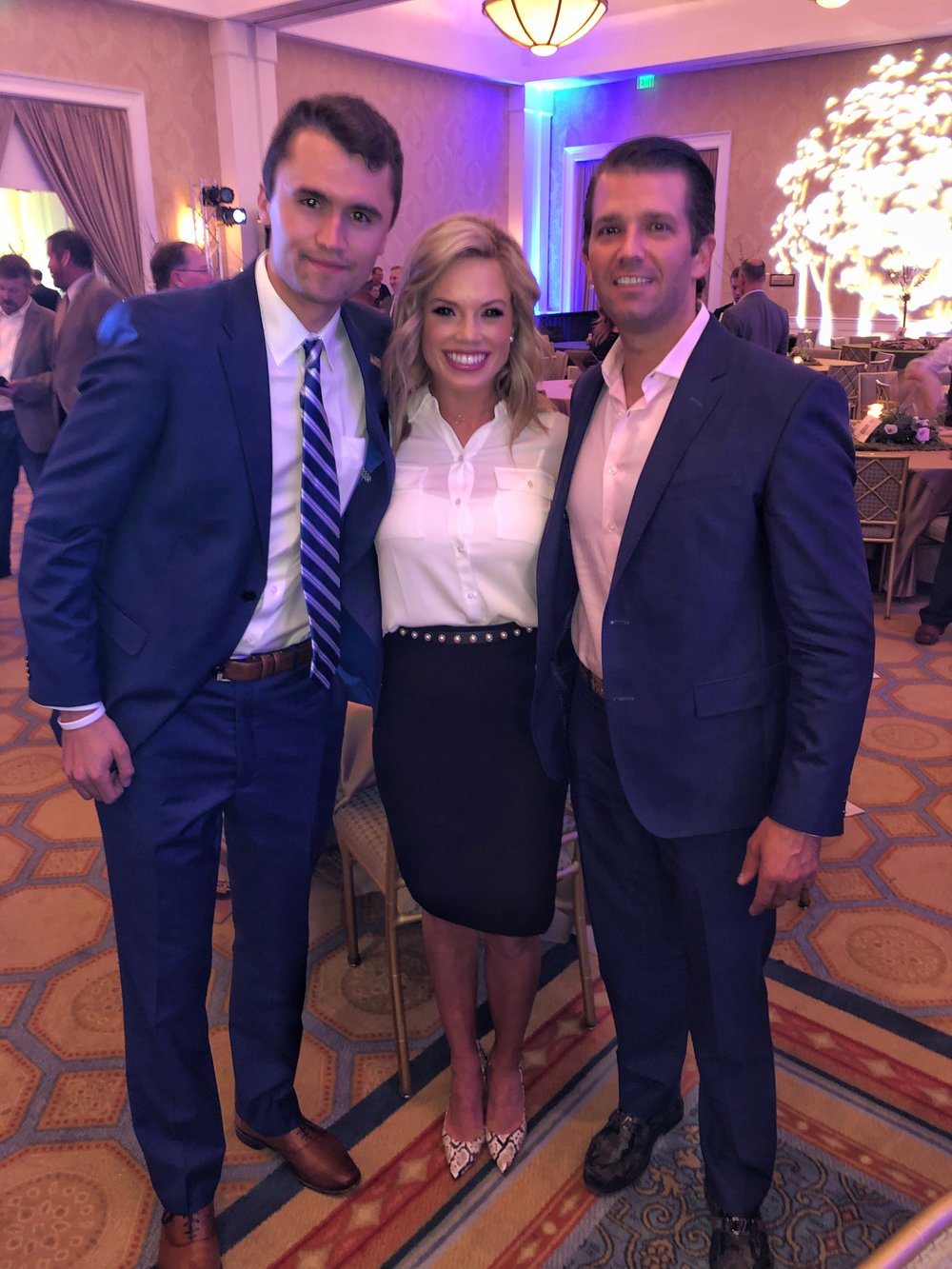 Charlie Kirk Founder of TPUSA- Left . Me- Center. Donald Trump Jr.- Right, huge supporter of TPUSA.