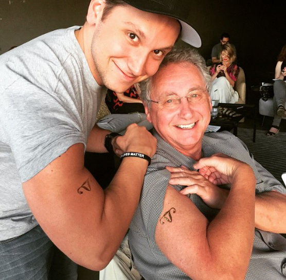 Matt McGorry and his dad at the Los Angeles Golden Probes Watch Party!