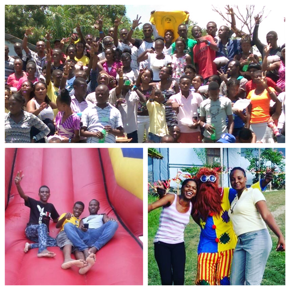 Steeven, bottom left, graduated from the Good Shepherd School and is now on Young Life staff in Mirebalais where he invited 80 new students to camp. The inflatable slide was shipped to Haiti for camp this year and will also be used at the school for special celebrations!
