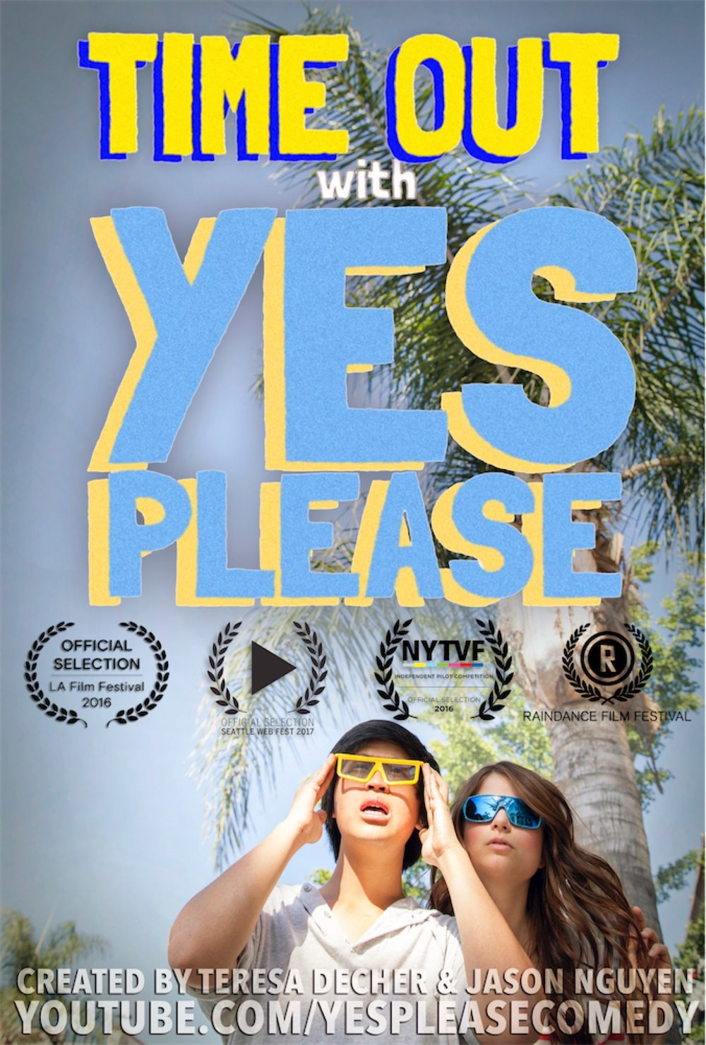 Time Out is a series of comedic vignettes based on semi-true events from the lives of sketch comedy duo Teresa Decher and Jason Nguyen, otherwise known as Yes Please Comedy.