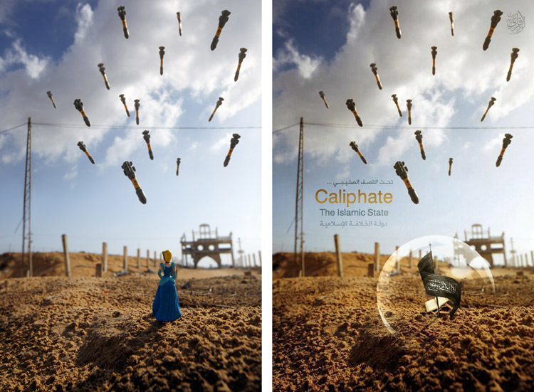 "Original ""Gaza Cinderella"" photo (left), Altered photo (right) with copy added, ""Under the Crusader bombing…the Islamic-Caliphate State."""