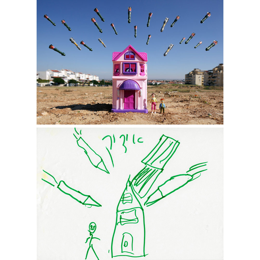 "Sderot Home - Sderot, Israel2012When interviewed, ""Uri"" had been living in Sderot Community Shelter #36 for more than a week. His drawing was made on the morning of 22 November 2012 in the first few hours of a ceasefire that ended ""Operation Pillar of Defense."" During the relatively brief escalation of the longstanding Israeli-Palestinian conflict, Israeli forces destroyed approximately 1500 targets within Gaza, and militants within Gaza fired 1456 rockets and mortars into Israel, many landing in or nearby the town of Sderot. The town with its close proximity to Gaza is a frequent target, so much so that a network of underground community bunkers protects Israeli citizens. Uri drew about the seemingly countless rockets that he imagined falling on his home. Many other children created drawings with similar themes."