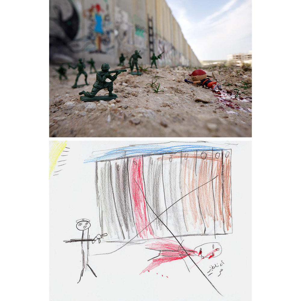 "Wall Shooting - Israeli Separation Barrier, West Bank2011Several Palestinian children in East Jerusalem and the Dheisheh Refugee Camp near Bethlehem made similar drawings of people being shot near the Israeli Separation Barrier. The controversial wall was a potent symbol and source of anxiety for most of the boys and girls. This account was shared by 11-year-old ""Walid"" and shows his friend who was killed by a soldier in unknown circumstances. Walid labeled him in Arabic as a ""martyr"" before placing a large ""X"" across the scene. The photo was created a short distance from the Kalandia Checkpoint on the road to Ramallah, coincidentally during one of the frequent, violent clashes between protestors and soldiers."