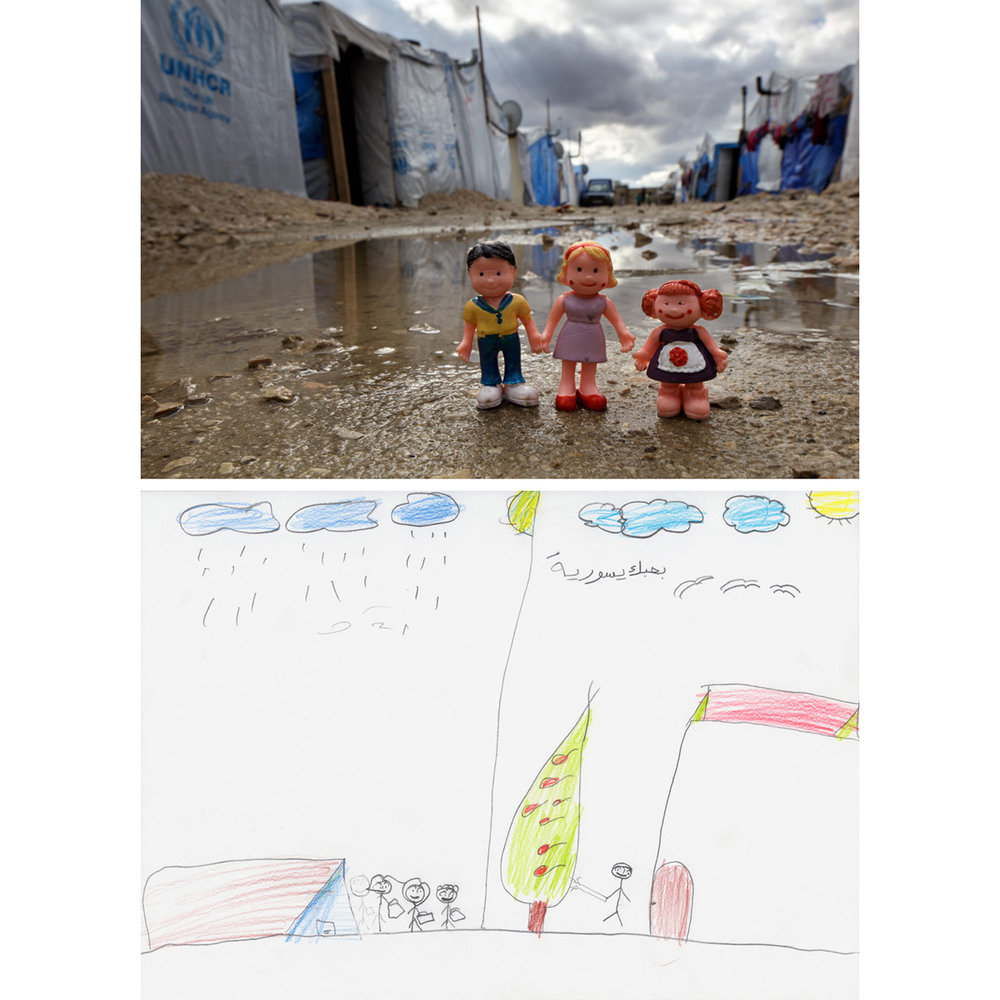 "Refugee Camp Life - Informal Syrian Refugee Camp, Bekaa Valley, Lebanon2014With ""I love Syria"" written in Arabic on the right side of her drawing, ""Hadil"" showed her life before the war, her dad in front of their home watering a tree. On the left, she drew the refugee tent she was now living in with her brother and sister. Her father is notably absent as the children carry their possessions. Hadil said that she hated the cold rains that had come that winter. Several young Syrian refugees who had recently arrived in Lebanon made similar drawing about adjusting to the harsh conditions within their informal encampment near the border. The toy figures, sourced from a close-by shop, were photographed within Hadil's camp."