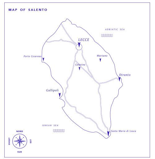 Map Salento Sud-Est Apulia Puglia