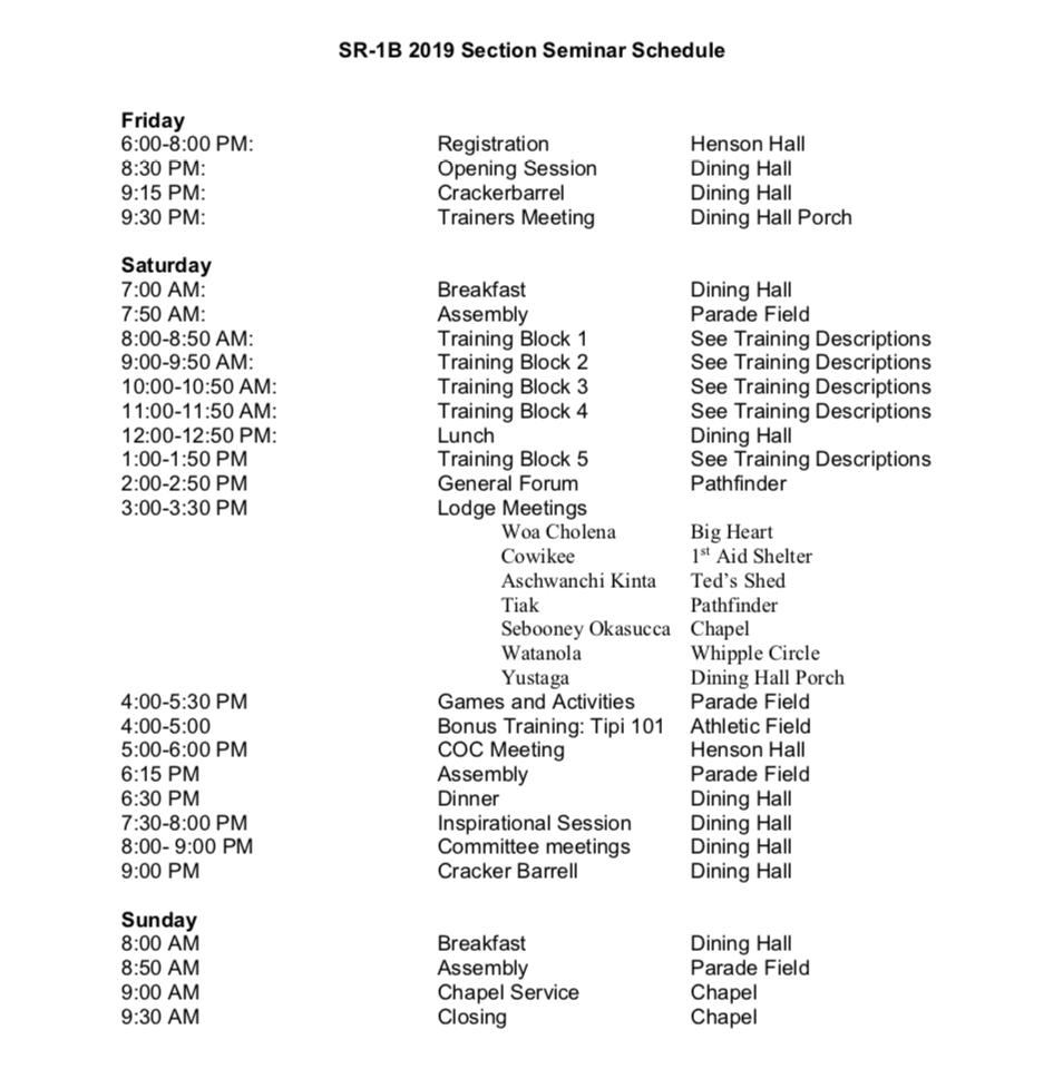 Seminar Schedule 2019
