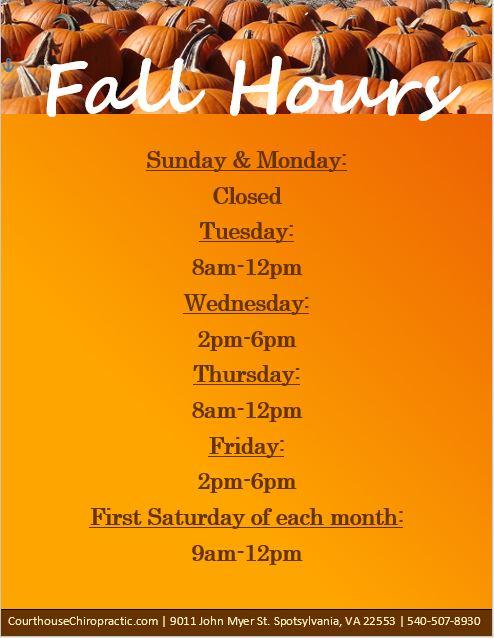 spotsylvania chiropractic fall hours