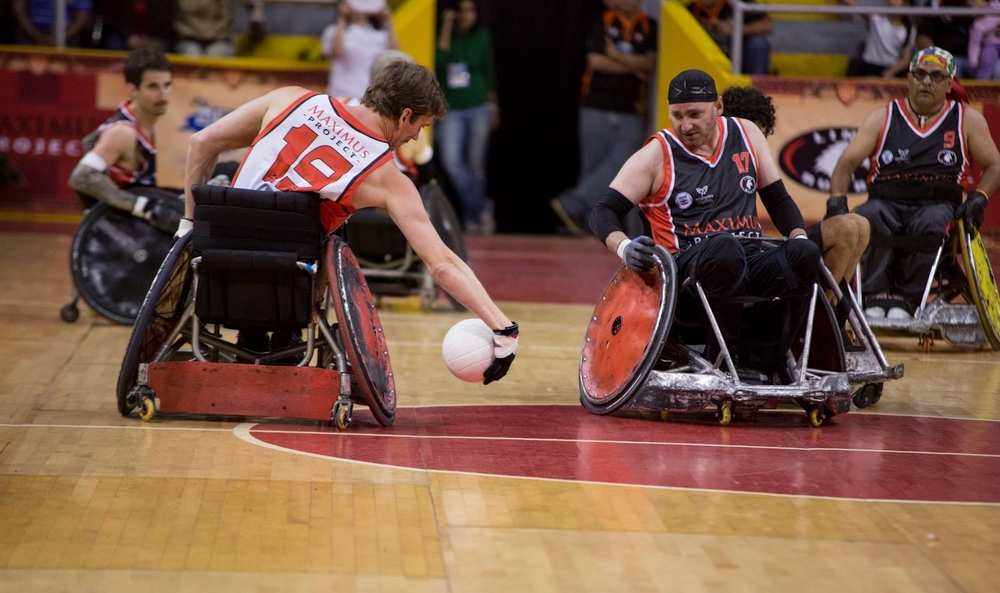 Brian Sheridan competing in Wheelchair Rugby with Arcangeles USA in Lima, Peru.