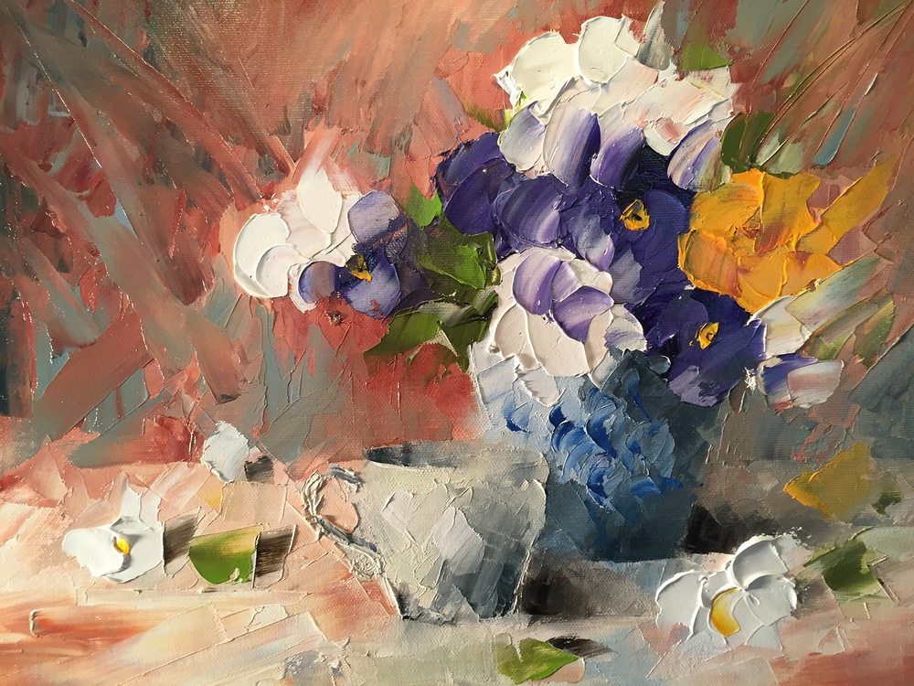 """Blue Vase with Pansies"""