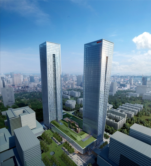 B-Tec Twin Towers Aerial Rendering