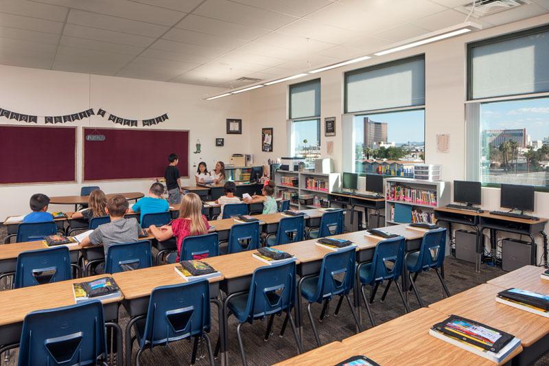 Rex Bell Elementary School classroom.