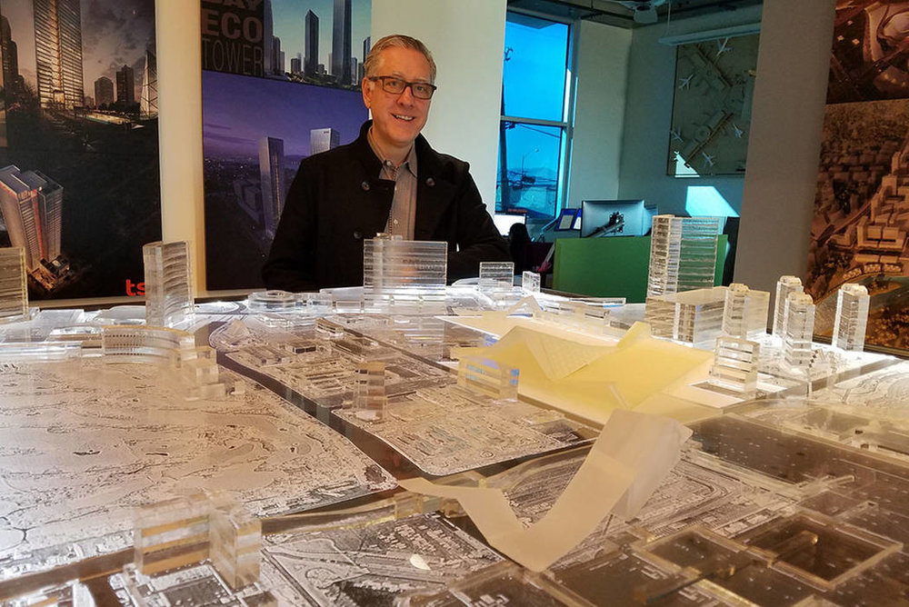 Windom Kimsey, principal and CEO of TSK Architects, Henderson, stands before a model of the planned Las Vegas Convention Center expansion at his office on Jan. 23, 2018. Richard N. Velotta/Las Vegas Review-Journal