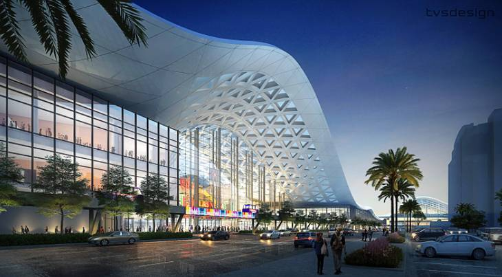 Rendering of the newly redesigned entry to the expansion of the Las Vegas Convention Center.