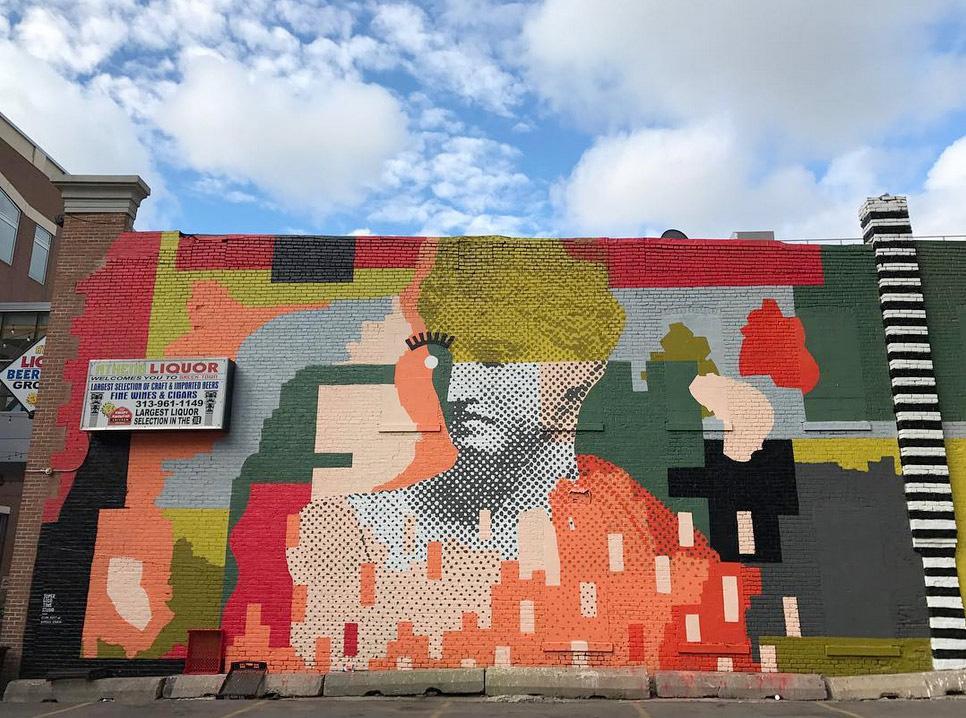 2016 Mural by Ellen Rutt and Patrick Ethen in Greektown, Detroit
