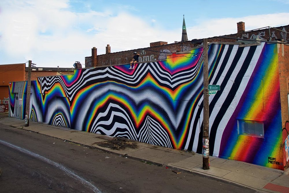 2016 Mural by Felipe Pantone in Eastern Market, Detroit