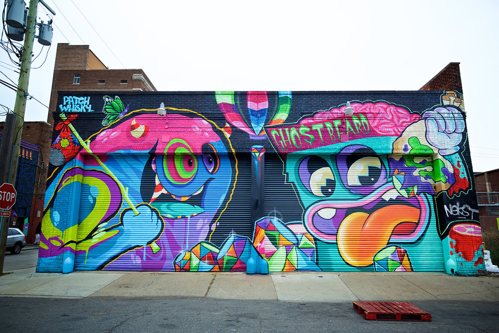 2016 Mural by Ghostbeard + Patch Whiskey in Eastern Market, Detroit