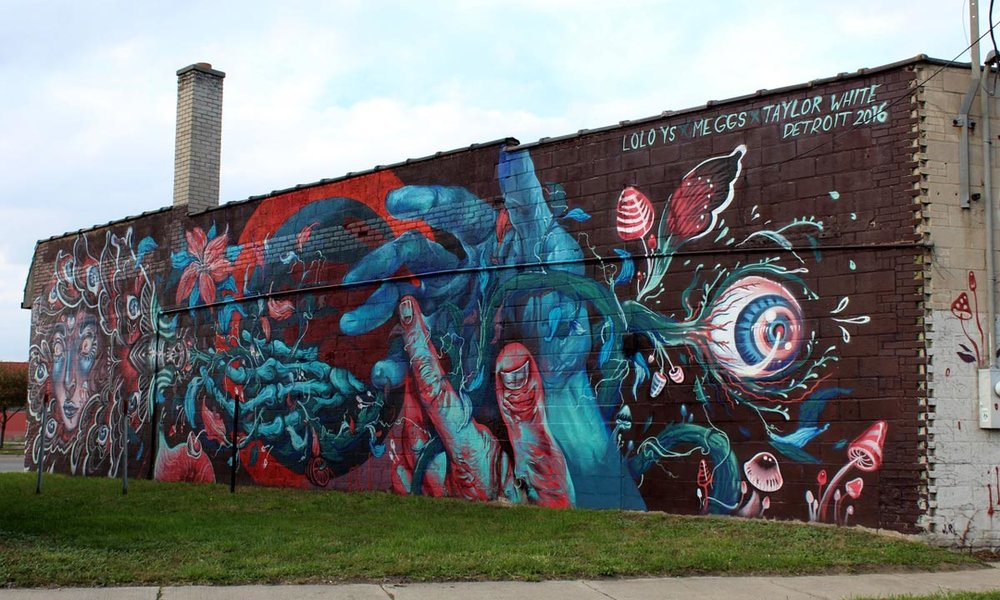 2016 Mural by Meggs, Taylor White and Lauren YS in Eastern Market, Detroit