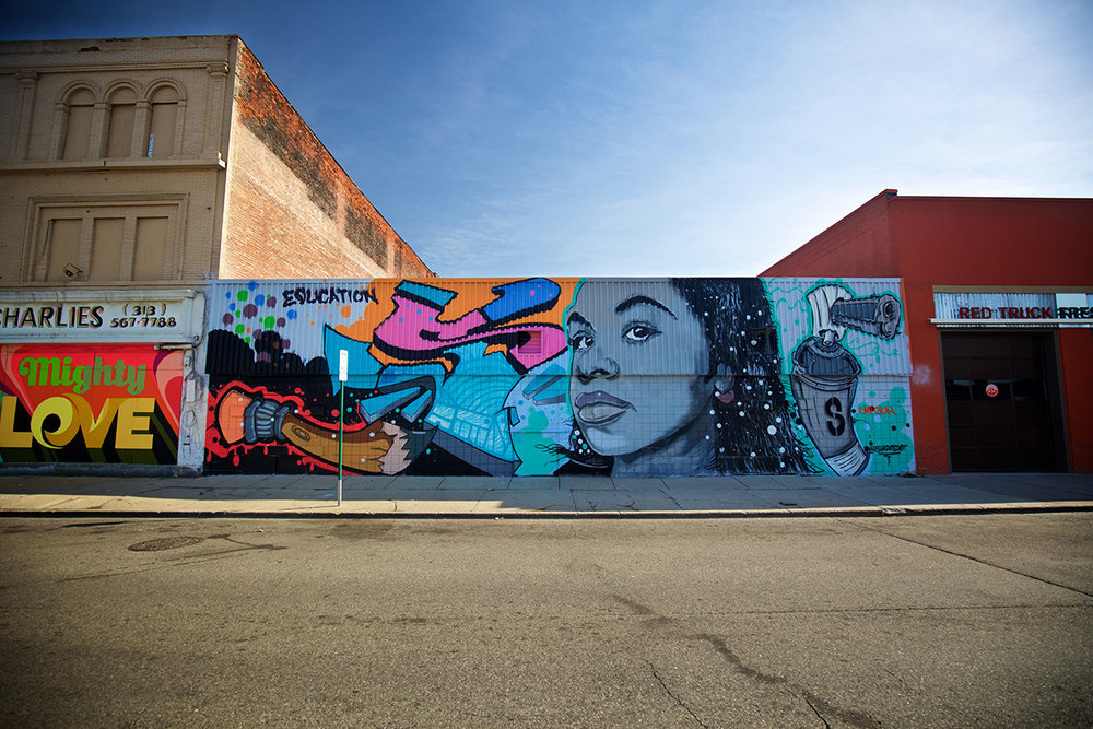 2016 Mural by Shades in Eastern Market, Detroit