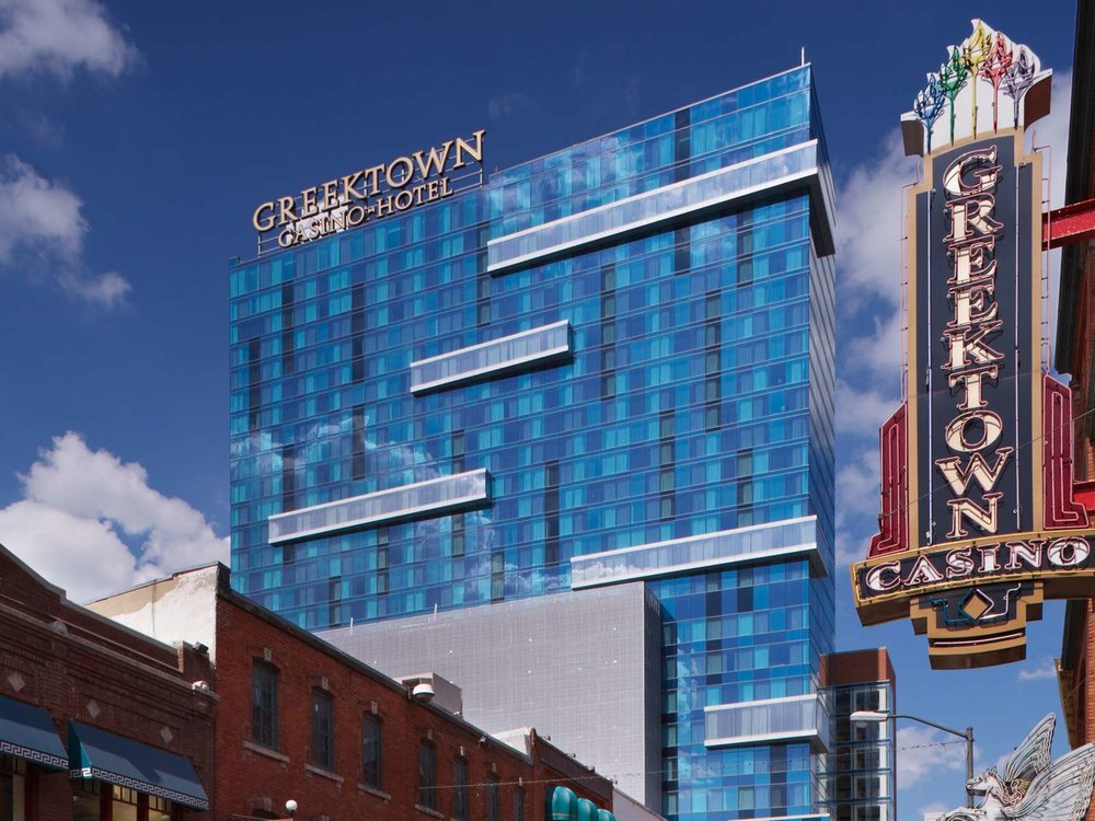 Greektown Casino & Hotel  Greektown   Polished hotel offering rooms with floor-to-ceiling windows & 42-inch TVs, plus access to a casino.      1200 St. Antoine 313.223.2999      Website