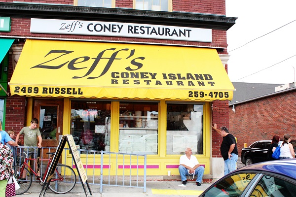 Zeff's Coney Island Eastern Market Diner in the center of eastern market offering up breakfast all day and cheap eats like burgers, salads, and hot dogs in a modest setting.   2469 Russell 313.259.4705 Website