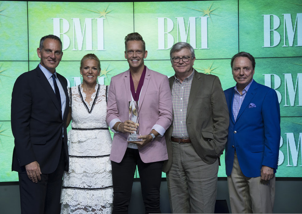BMI's Mike O'Neill and Leslie Roberts, BMI Christian Music Songwriter of the Year Bernie Herms and BMI's Phil Graham and Jody Williams. (Photo by Steve Lowry.)