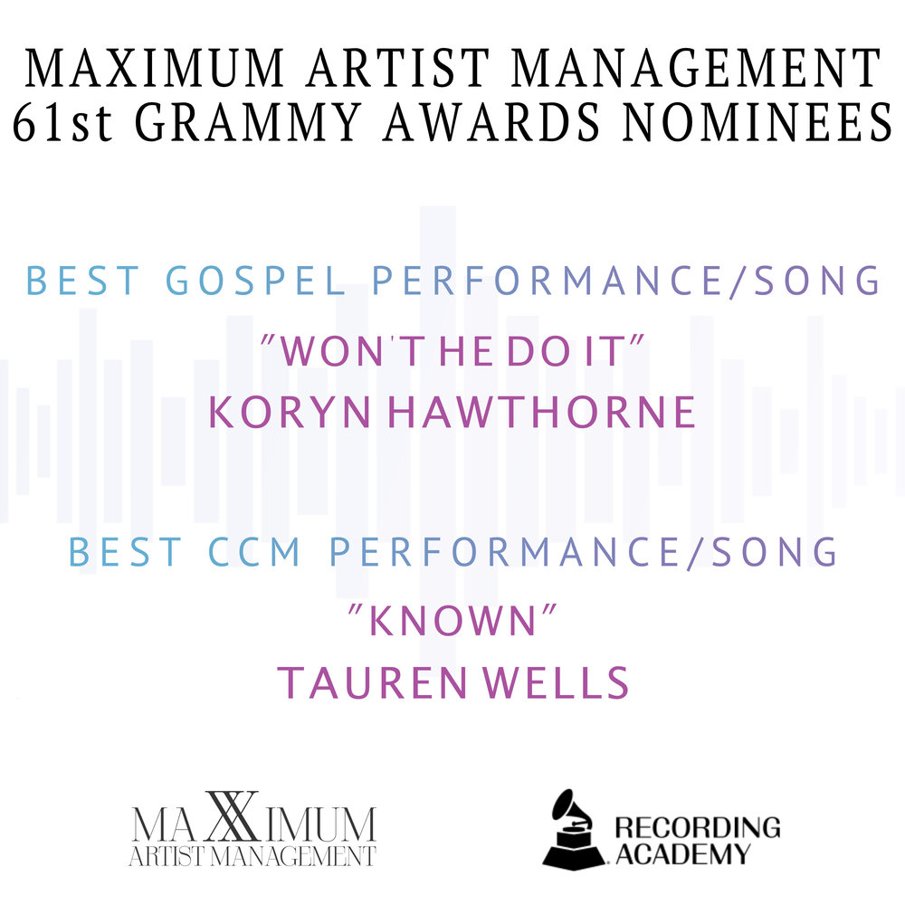 Maximum Artist Management 61st Grammy Awards Nominees