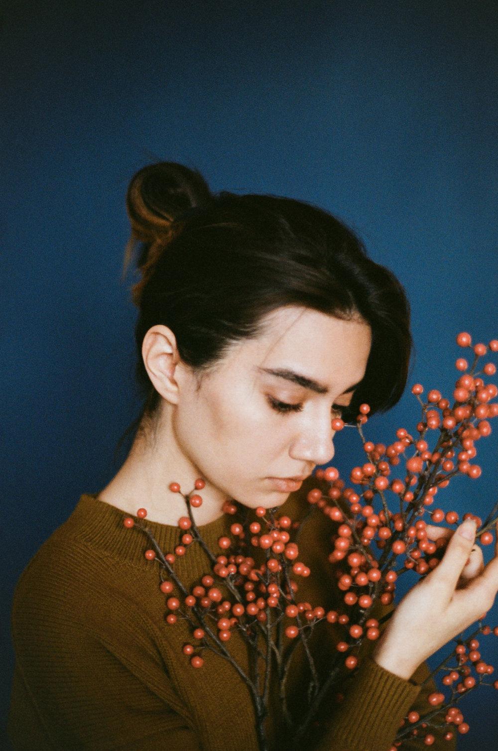 Kamola Akilova Uzbekistan Ektar 100 Canon a1 Portrait Brooklyn Studio Blue