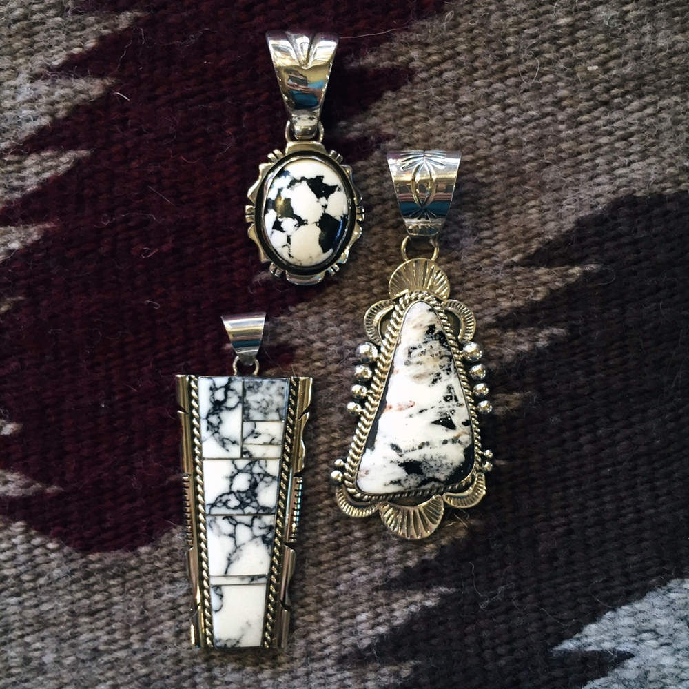 #00000 Sterling Silver White Buffalo Turquoise Pendants   These Pendants May No Longer Available, Please Contact Us For Other Options