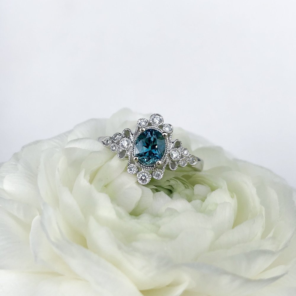 #15000 14k White Gold Ring Montana Sapphire .77ct Diamonds .40tcw  Contact Us For Pricing