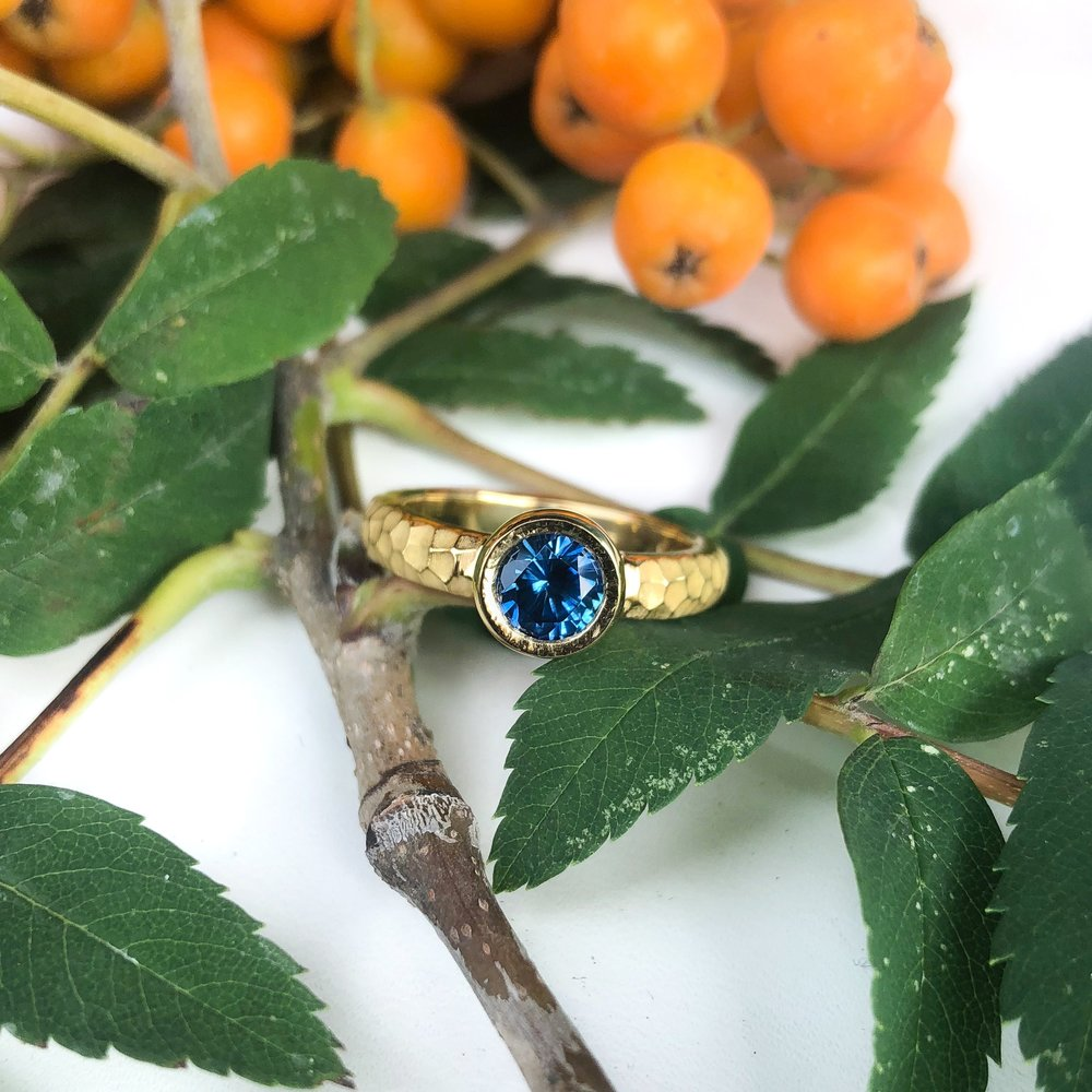 18k Yellow Gold Stephen Isley Custom Designed Ring Featuring a Montana Sapphire  Contact Us  To Design Your Own Custom Ring