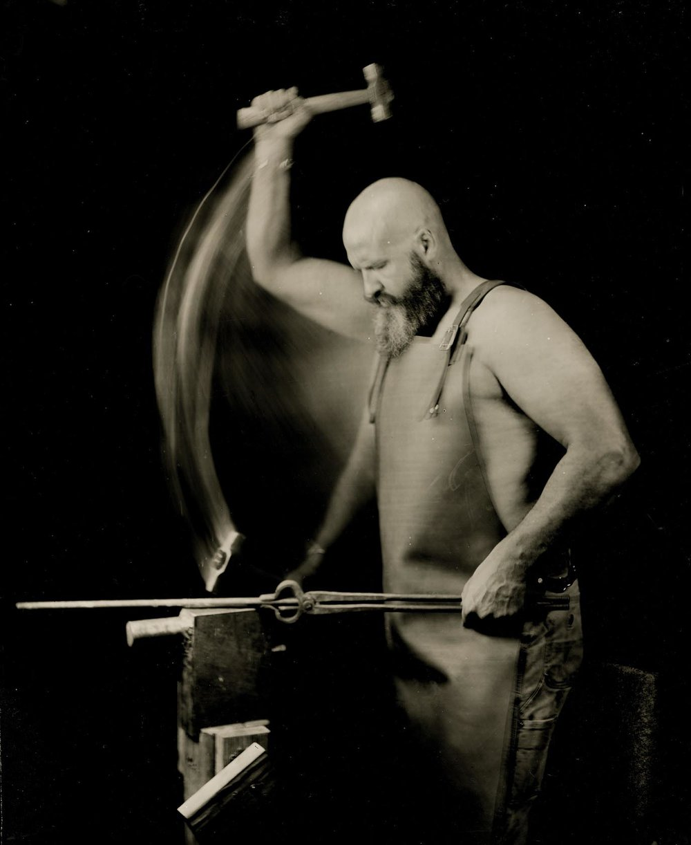 Study of a Blacksmith's Downward Hammer Strike - By: Shane Balkowitsch  http://sharoncol.balkowitsch.com/wetplate.htm