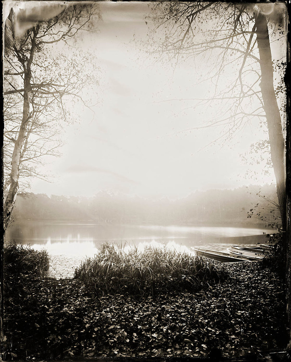 A Quiet Lakeside - By: Maximilian Zeitler  www.maximilianzeitler.com   Last October someone broke into the shared place I use for a studio and stole nearly all my large format cameras and a very rare and big lens I got borrowed from a friend for ultra large format portraits. Gathering equipment for wetplate always means searching auction houses and hoping to be lucky. Since I started wetplate about four years ago I therefore tried to get good equipment to work - that then was gone.  When I had overcome the first shock I packed the last 'portable' wooden camera and all my darkroom equipment and drove into the Spreewald near Berlin to escape the studio and all the bad thoughts. At this small lake in the woods I set up the camera from 1890 together with an old wide angle lens from 1880 and exposed one plate around 60 seconds.  One should always keep on doing what you love!