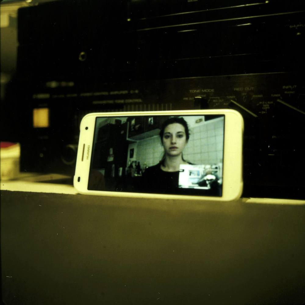Polaroid picture of a skype chat.