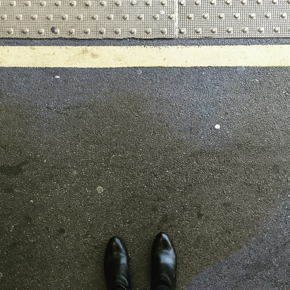 After landing, waiting for the train from Gatwick to Victoria. It was raining (surprise, surprise).