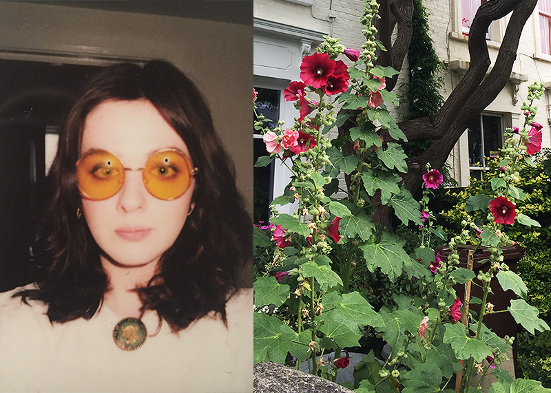 Me, one week into living here, and some of the aforementioned flowers I've been enjoying.