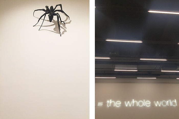 One of Louise Bourgeois' spider sculptures, and some neon I was drawn to because apparently I'm a moth.