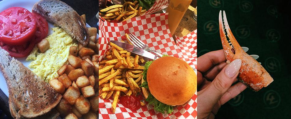 Too much food. L-R: diner breakfast; BQM veggie burger; buffet crab legs (because I'm classy.)