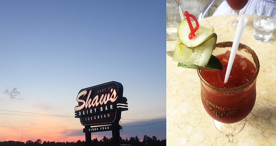 Canadian indulgence. L: Shaw's ice cream, made in-house just outside of London, ON; R: a Bloody Caesar from BQM, A.K.A. the Canadian version of a Bloody Mary.