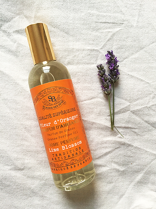"Some plucked lavender from my evening walk and a room spray in one of my favourite scents. Not sure why they've translated the French to ""lime blossom"" but eh, what can ya do?"
