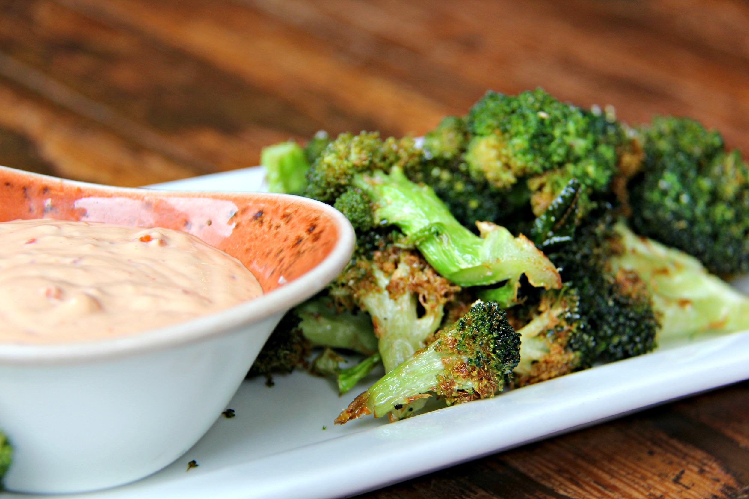 fried broccoli with comeback sauce