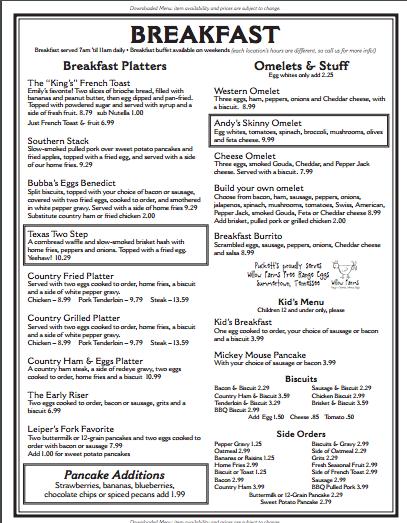 Puckett's Breakfast Menu